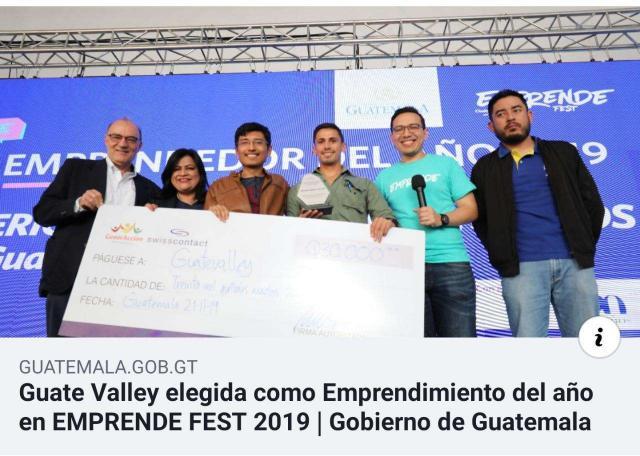 GuateValley seleccionada como Emprendimiento del Año