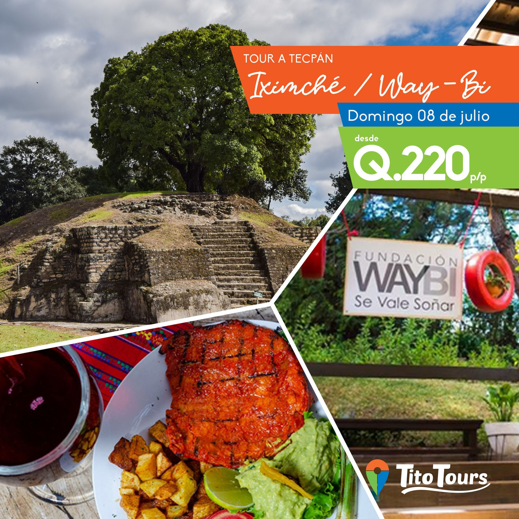 Tour a Iximche y restaurante Way-bi